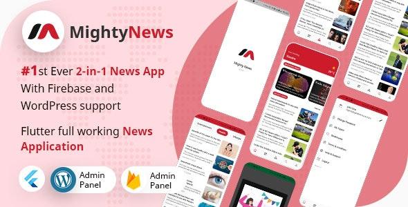 MightyNews v23 – Flutter 2.0 News App with WordPress + Firebase backend