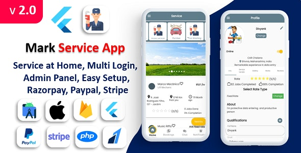 Mark Service App | Service At Home | Multi Payment Gateways Integrated | Complete Solution - CodeCanyon Item for Sale