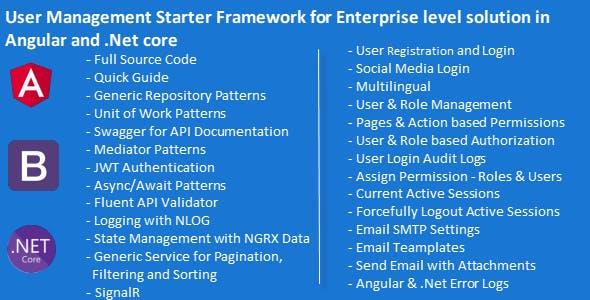 Advanced User Management Starter Framework for Enterprise Level Solution in .Net 5 & Angular 11