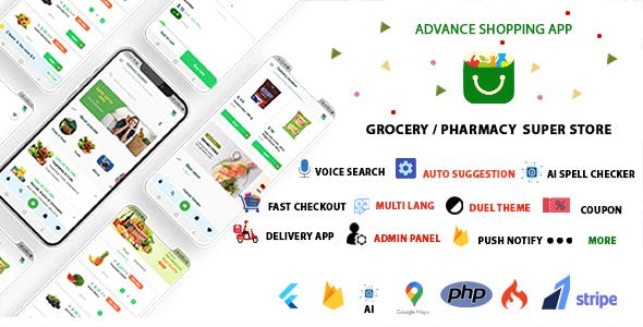 Grocery App, Pharmacy, Food, E-commerce Single Vendor Store with Admin Panel and Delivery App