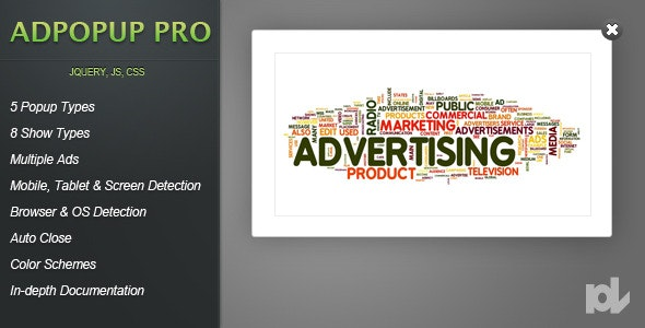 adPopup Pro for jQuery - CodeCanyon Item for Sale