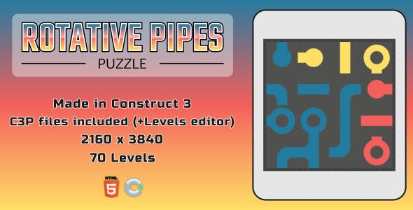 Rotative Pipes Puzzle - HTML5 Casual Game (+ EDITOR)