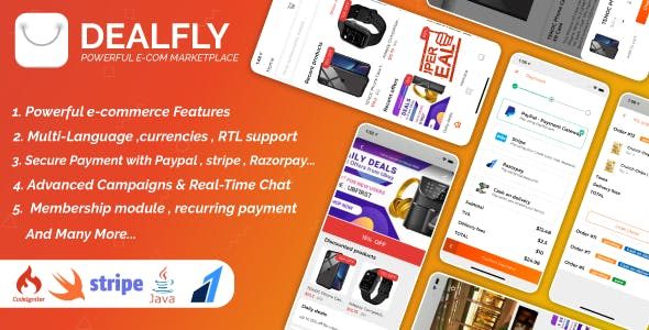 Dealfly - E-commerce & multi-vendors marketplace,Offers, Subscription system - iOS & Android - v2.1