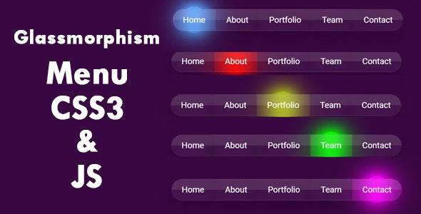 Glassmorphism Menu CSS3 and JS - CodeCanyon Item for Sale