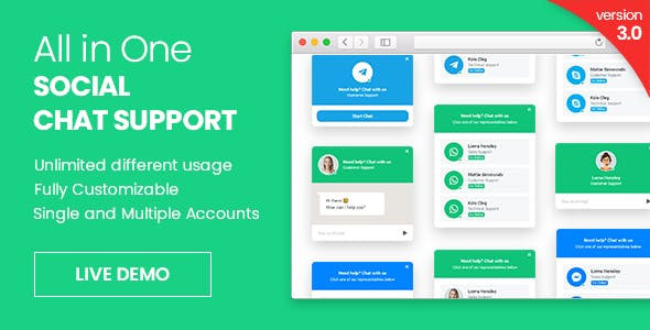 All in One Social Chat Support - jQuery Plugin