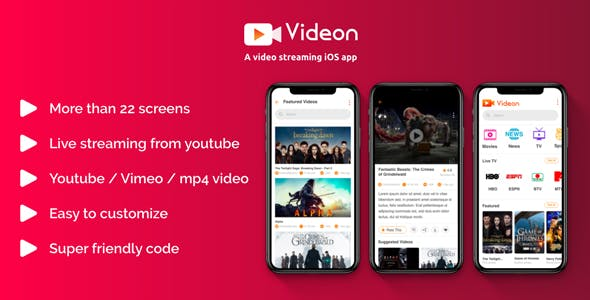 Videon - A video streaming iOS app with admin panel