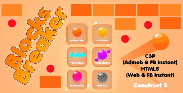 Blocks Breaker Game (Construct 3 | C3P | HTML5) Admob and FB Instant Support