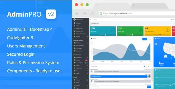 AdminPro - Login + Multi User Management + Codeigniter + Roles & Permission + Bootstrap 4 + AdminLTE
