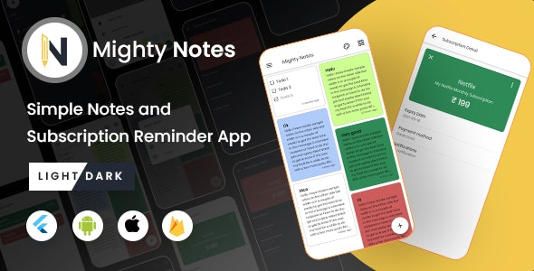 MightyNotes Flutter - Notes App With Firebase Backend - CodeCanyon Item for Sale