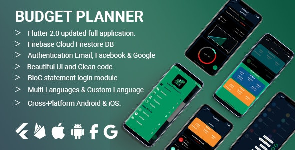 Budget Planner expenses and income tracker - Flutter 2.0 - CodeCanyon Item for Sale