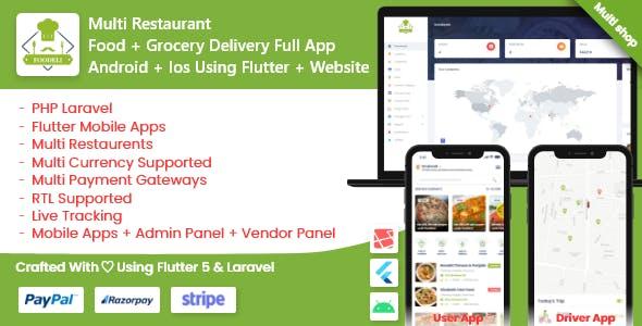 Multi Restaurant Vendor Food Grocery Delivery App Flutter laravel
