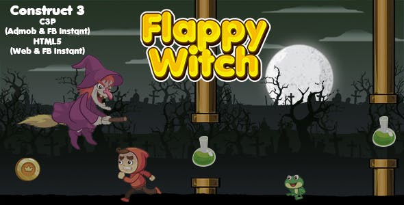 Flappy Witch Game (Construct 3 | C3P | HTML5) Admob and FB Instant Support