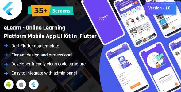 Elearn - Online Learning Platform App UI Kit in Flutter