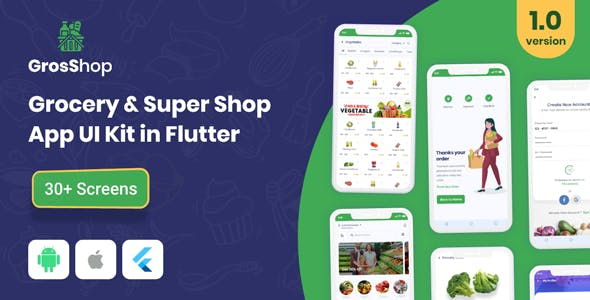 GrosShop - Grocery and SuperShop App UI Kit