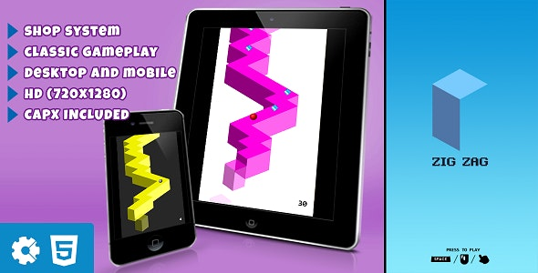 Zig Zag - HTML5 Game (.capx) - CodeCanyon Item for Sale