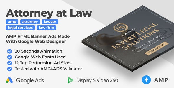 Law Firm - Animated AMP HTML Banner Ad Templates (GWD, AMP)