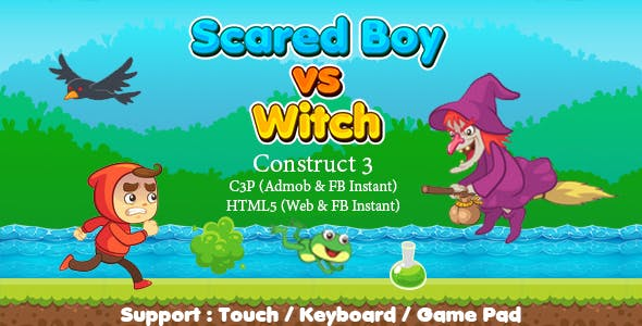 Scared Boy vs Witch (Construct 3 | C3P | HTML5) Admob and FB Instant Ready