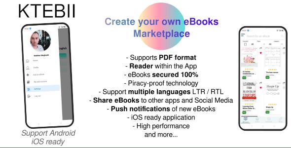 Ktebii V1 - Ebooks marketplace app (for publishers, startups, writers..) made with React Native