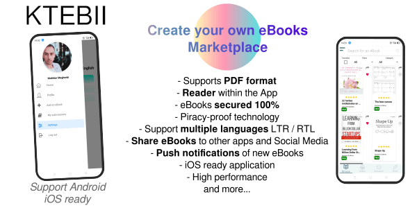 Ktebii V1 - Ebooks marketplace app (for publishers, startups, writers..) made with React Native - CodeCanyon Item for Sale