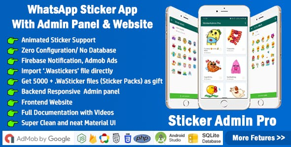 StickerAdmin Pro : WhatsApp Stickers App with admin panel + Website (Animated Sticker) - 2021