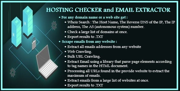 Two In One : Whois & DNS Lookup - Domain/IP & Hosting Checker & Email Extractor