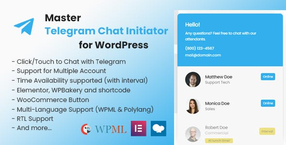 Master Telegram Chat Initiator for WordPress