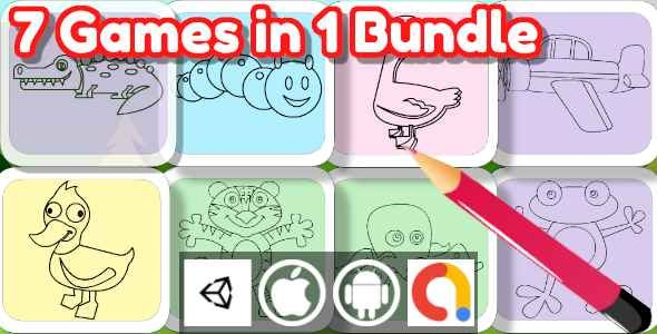 Edukida - Unity Bundle 7 Coloring Book Games in 1 Bundle (Kids Game With Admob For Android + iOS) - CodeCanyon Item for Sale