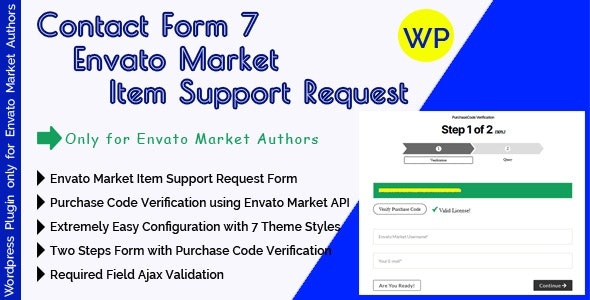 CF7 Envato Market Item Support Request - Contact Form 7 Support Form With Purchase Code Verification - CodeCanyon Item for Sale