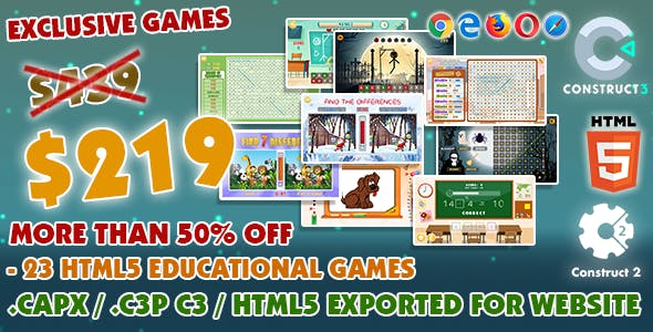 Educational Game Bundle #01 – 23 HTML5 Games - (Construct 2 or 3 source-code)