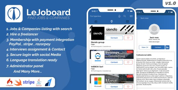 LeJoboard iOS & Android, Job board portal, Freelancers, Manage interviews with Admin panel