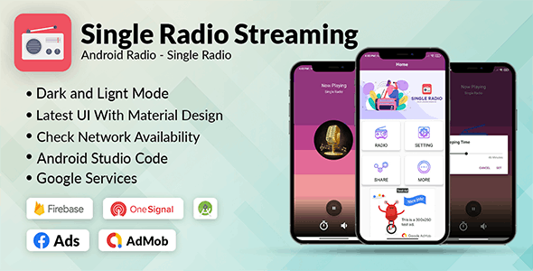 Single Radio App Android   Admob, Facebook, Onesignal - CodeCanyon Item for Sale