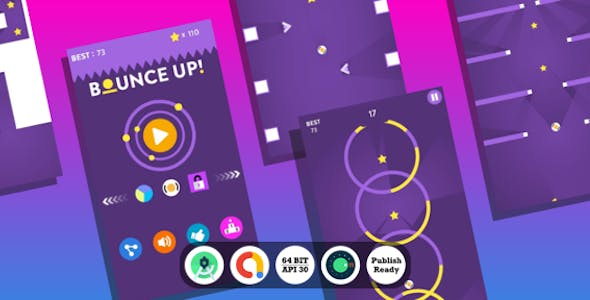 Bounce Up Android Game with Admob Ads + reward video + Android Studio + ready to publish
