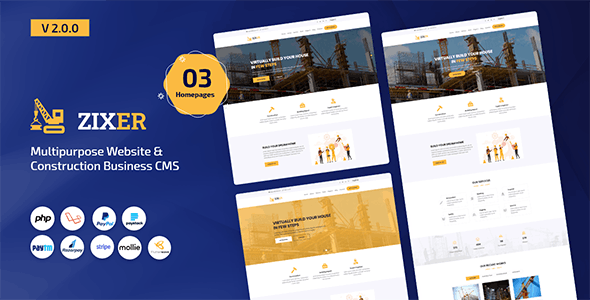Zixer - Multipurpose Website & Construction Business Company CMS