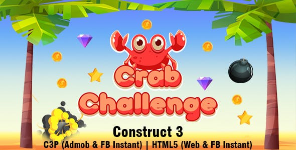 Crab Challenge Game (Construct 3 | C3P | HTML5) Admob and FB Instant Ready