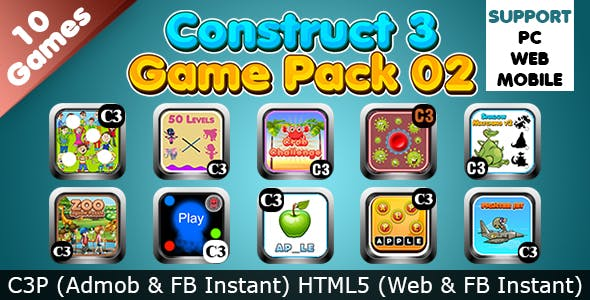 Game Collection 02 (Construct 3 | C3P | HTML5) 10 Games Admob and FB Instant Ready