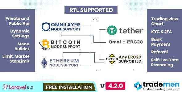 Trademen 4.2- Cryptocurrency Exchange, RTL, ETH, ERC20,OMNI Layer, USDT, ETHEREUM, BITCOIN, Exchange