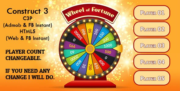 Wheel of Fortune Game (Construct 3 | C3P | HTML5) Admob and FB Instant Ready