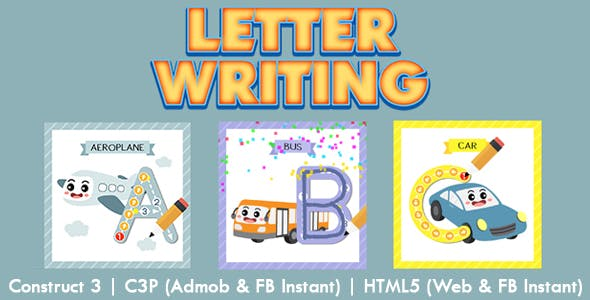 Letter Writing Kids Education Game (Construct 3   C3P   HTML5) Admob and FB Instant Ready