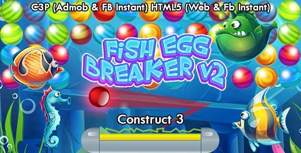 Fish Egg Breaker v2 Bricks Breaker Game (Construct 3 | C3P | HTML5) Admob and FB Instant Ready