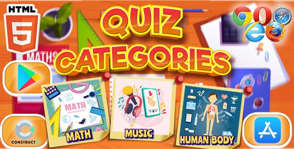 Quiz Categories - HTML5 & Mobile Game (C3p)
