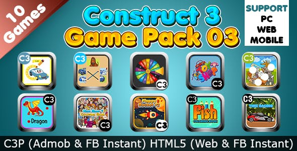 Game Collection 03 (Construct 3 | C3P | HTML5) 10 Games Admob and FB Instant Ready