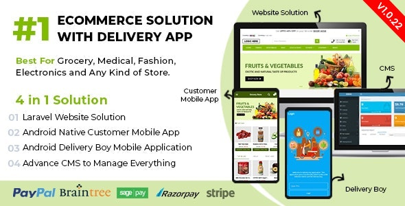Ecommerce Solution with Delivery App For Grocery, Food, Pharmacy, Any Store / Laravel + Android Apps - CodeCanyon Item for Sale