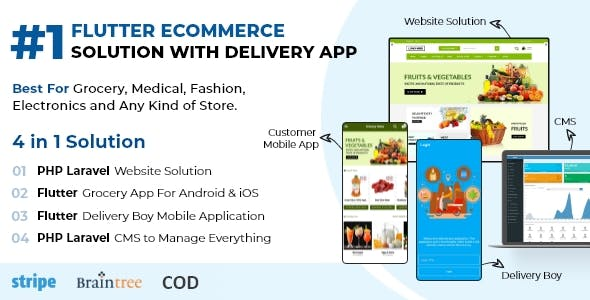 Flutter Delivery Solution Apps with Advance Website and CMS