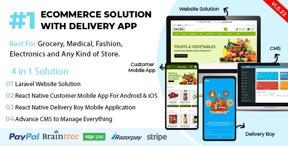 React Native Delivery Solution with Advance Website and CMS v1.0.22.1