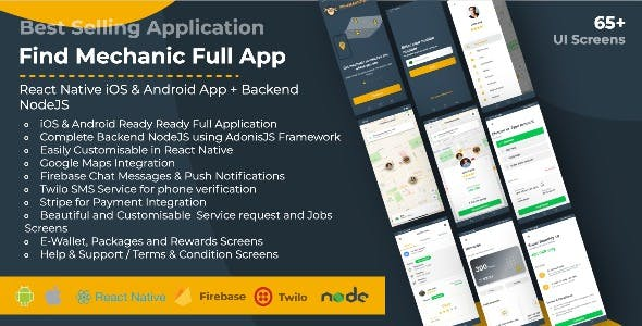 Find Mechanic - Premium React Native Full Application with Backend NodeJS for iOS & Android