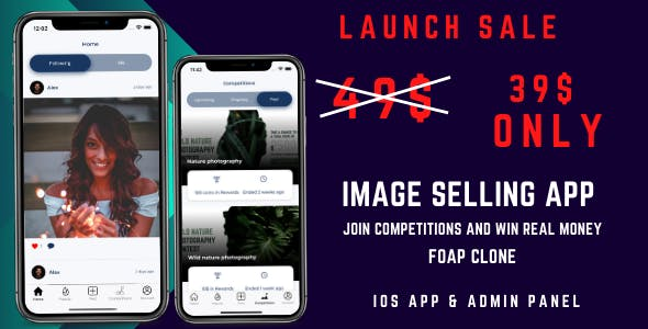 Image competition app with Admin panel - Foap clone - Earn by selling images
