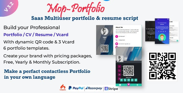 Mop - SaaS Portfolio / Resume / vCard Script - CodeCanyon Item for Sale