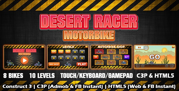 Desert Racer Motorbike Racing Game (Construct 3 | C3P | HTML5) Admob and FB Instant Ready - CodeCanyon Item for Sale