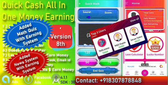 Quick Cash All In One Money Earning Android App + Games + WhatsApp Tools + Earning Quiz Admin Panel