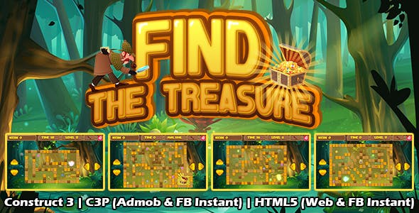Find The Treasure Puzzle Game (Construct 3 | C3P | HTML5) Admob and FB Instant Ready